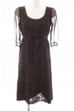 Windsor Langarmkleid schwarz-dunkelbraun florales Muster Elegant