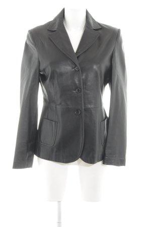 Windsor Blazer de cuero negro estilo clásico