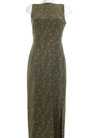 Windsor Robe longue vert olive-blanc cassé motif floral élégant