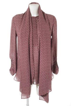 Windsor Blouse en soie blanc-rouille motif abstrait style simple