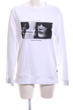 Windsor Sweatshirt weiß-schwarz Motivdruck Casual-Look