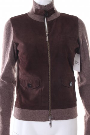Windsor Wolljacke schwarzbraun-graubraun Materialmix-Look