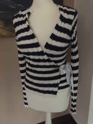 Knitted Wrap Cardigan natural white-dark blue