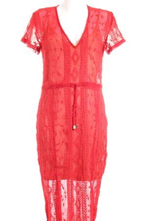 Winona Midi-jurk rood-nude straat-mode uitstraling