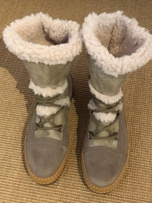 Winter-Boots helles Taupe/naturweiss