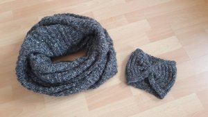 Winter Herbst Set Loop Schal Stirnband Strick Glitzer grau