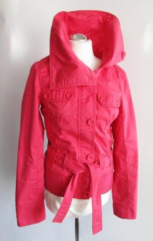 Winter Jacke Only Größe M 38 Rot Pink Stehkragen Kurzjacke Übergangsjacke Blazer Gürtel Biker Flieger