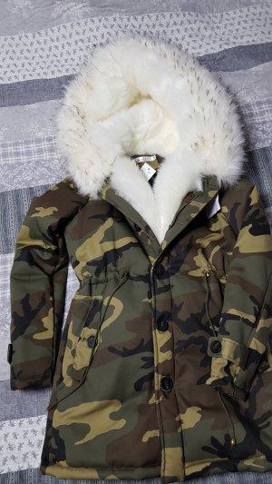 Winter jacke S kunstfell Pelz camo Army