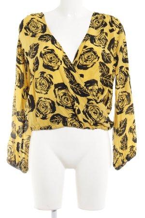 Winter kate Langarm-Bluse gelb-schwarz florales Muster Romantik-Look