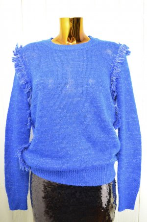 WINTER KATE Nicole Richie Damen Pullover Blau Gold Lurex Fransen Gr.XS-S