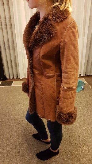 Winter Mantel aus echtem Leder(Wildleder)