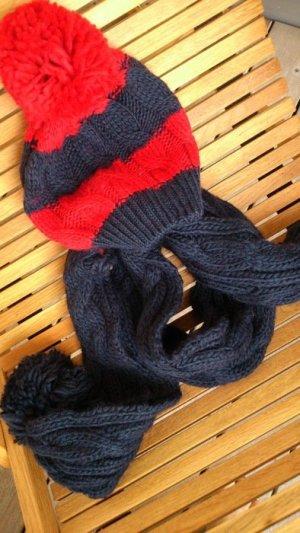 Abercrombie & Fitch Gebreide sjaal donkerblauw-rood Katoen