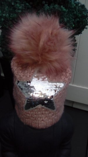 Knitted Hat dusky pink-silver-colored