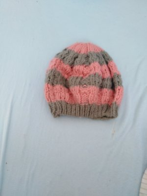 mister*lady Chapeau en tricot or rose-gris clair