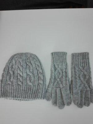 Winter Mütze Mütze mit Handschuhe in hellgrau Farbe