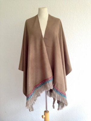 Winter Poncho Fransen Taupe Beige New