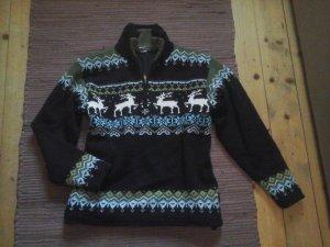Winter pullover Rentieren blau grün Gr. 36