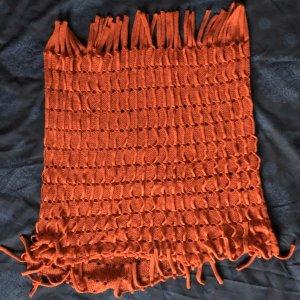 Sciarpa lavorata a maglia arancione scuro Tessuto misto