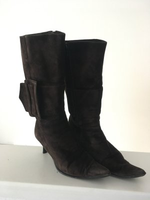 Fur Boots black brown suede