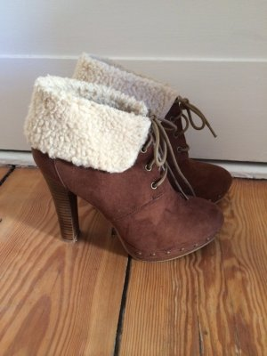 Winter Stiefeletten Booties mit Fell, cognac 38