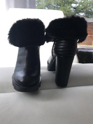 Love Moschino Bottines à plateforme noir cuir