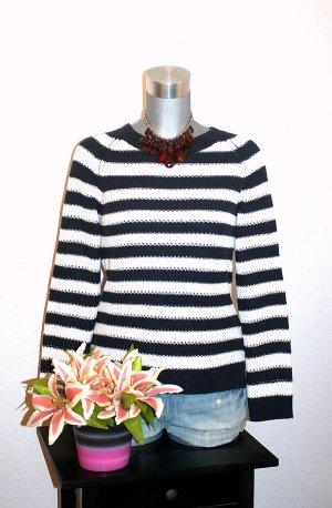 Winter Strick Pullover gr.36/38 Dunkelblau Streifen