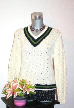 Winter Strick Pullover gr. 40/42 Creme Grün