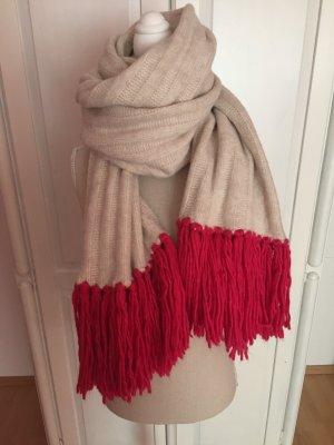 Winter XXL Schal mit pinken Fransen