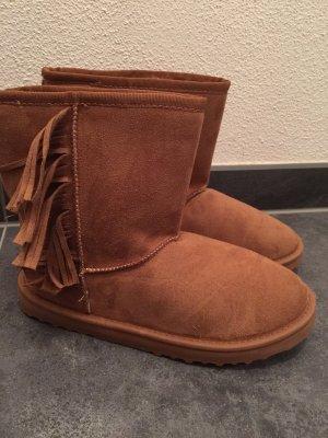 Winterboots Boots Stiefeletten camel Fransen Gr 41 Passt Gr 40 neu