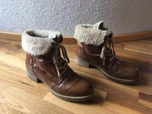 active Snow Boots brown-natural white leather