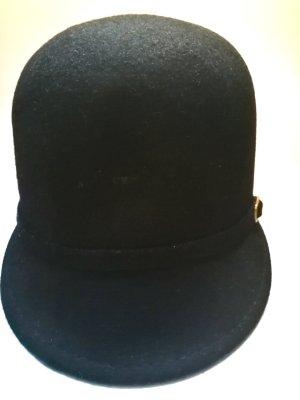 Sombrero de fieltro negro-color oro Lana