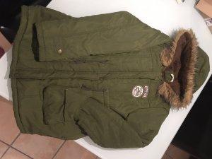 100% Fashion Veste d'hiver vert foncé-brun