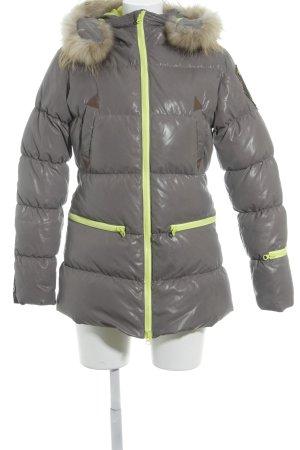 Winterjacke grau-neongrün Steppmuster Casual-Look