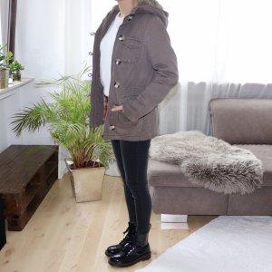 Winterjacke khaki braun mit Fellkapuze Gr. XS/ S