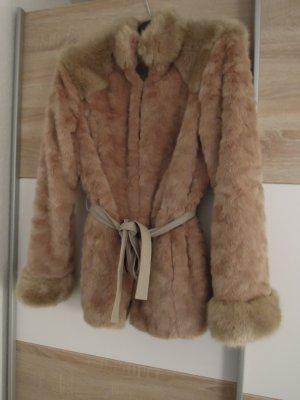 Winterjacke Kunstfelljacke Fake Fur Jacke mit Gürtel zum Binden MORGAN Größe 40 beige edel warm
