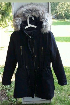 Winterjacke Only M Dunkelblau Fell weiß/grau große Taschen Neu