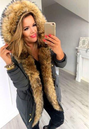 Winterjacke Parka Anorak Mantel Blogger Jacke Schwalbenschwanz  Fell Kunstfellkragen Fake Fur Teddyfell XL Kapuze Größe M (38/40)