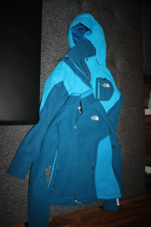 The North Face Double Jacket light blue-cadet blue polyester