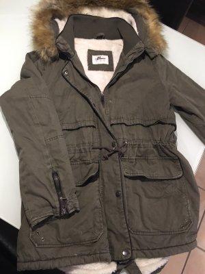 100% Fashion Veste d'hiver crème-vert foncé