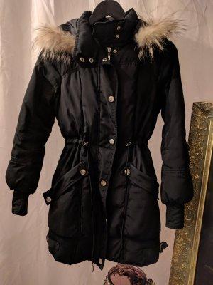 Winterjacke Wintermantel schwarz Fell