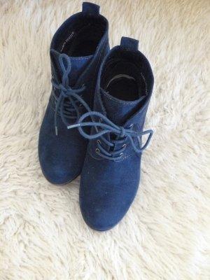winterliche Stiefelette, dunkelblau, Größe 36, Marco Tozzi