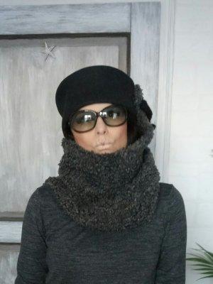Woolen Hat black-dark grey wool