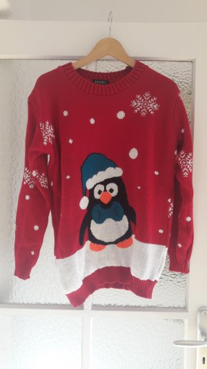 Winterlicher Oversized-Pulli mit Pinguin-Print