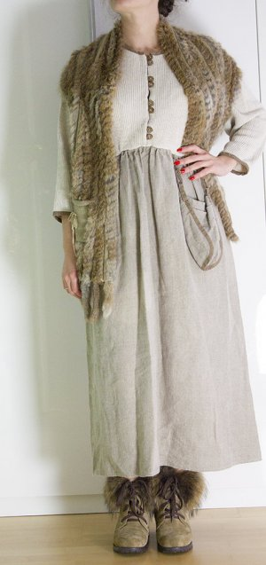 Hippie Dress light brown-natural white