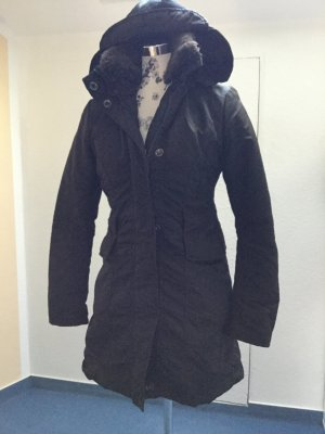 Dee Jays Hooded Coat dark brown polyester