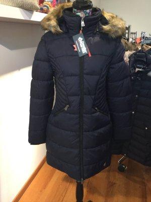 Abrigo de invierno azul oscuro