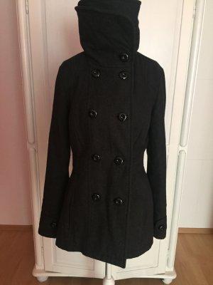 Wintermantel kurz Jacke grau mit hohem Kragen und Knöpfen