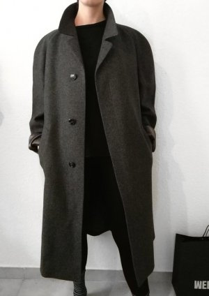 Wintermantel, L/XL, Grau-Anthrazit, 100% Schurwolle, Oversize, Vintage