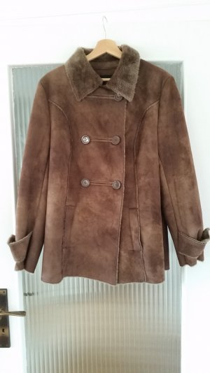 Adler Winter Coat grey brown-cognac-coloured