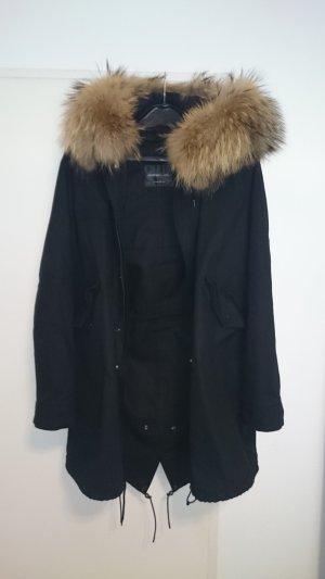 Wintermantel mit Kapuze und Echtpelz (abnehmbar) + herausnehmbare Innenjacke